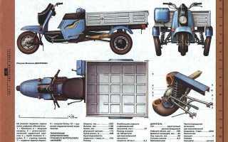Трехколесный грузовой мотороллер Муравей 2M-02